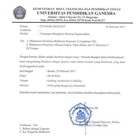 Contoh Surat Undangan Dinas by Surat Undangan Seminar Kepemudaan Undiksha