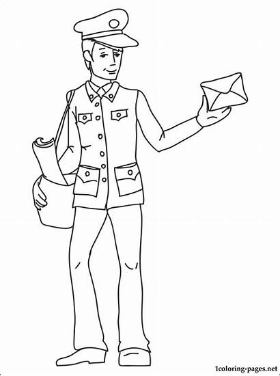 Postman Coloring Mailman Drawing Pages Printable Children