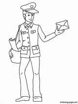 Postman Coloring Mailman Pages Drawing Printable Children Listonosz Kolorowanka Mail Kolorowanki Line Dzieci Dla Thank Carrier Getdrawings Professions Penciling Profession sketch template