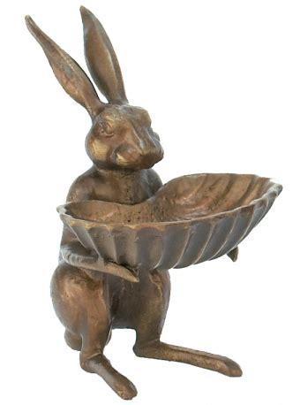 cast iron rabbit bird feeder