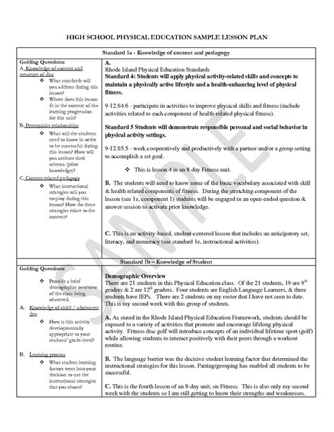 physical education worksheets high school 13 best images of high school physical education
