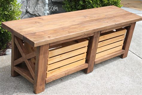 rustic  leg wooden bench  built  crate storage