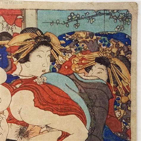 Antique Signed Japanese Shunga Ukiyo-e Woodblock Print #1 ...