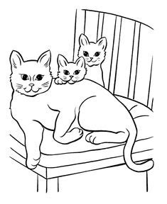 cat coloring pages printable mother cat  kittens coloring page honkingdonkey cat