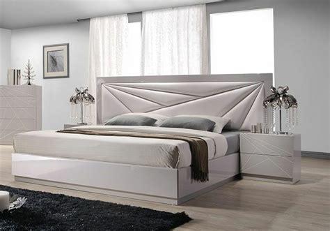 Modern Platform Bed With Long Beige Leather Headboard