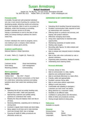 How To Make Cv For Sle by Retail Cv Template Sales Environment Sales Assistant Cv