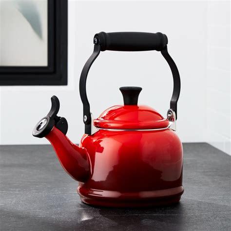 le creuset  qt demi cerise red tea kettle crate