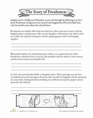 pocahontas biography worksheet education
