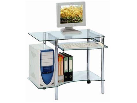 bureau informatique en verre tremp 233 transparent avec tablette coulissante meubles bois massif