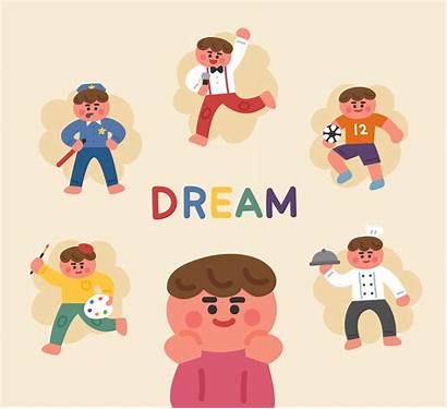 Future Dreaming Career Boy Vector Drawing Imagine
