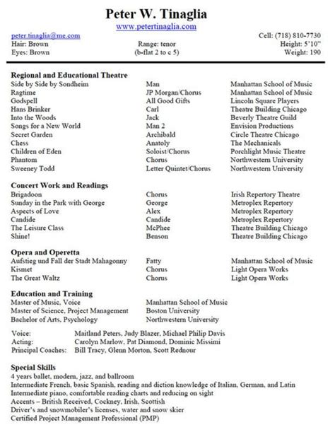 musical theatre resume template template