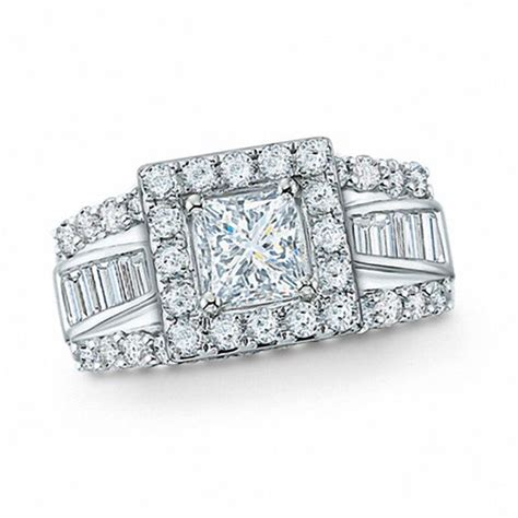 2 ct t w frame princess cut diamond engagement ring in 14k white gold engagement rings