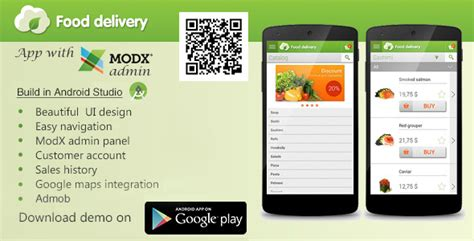 application android cuisine food delivery app with modx cms mobile codecanyon