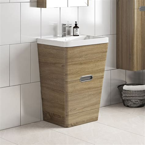 mode sherwood oak floor standing vanity unit  resin