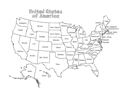 united states map coloring page  printable