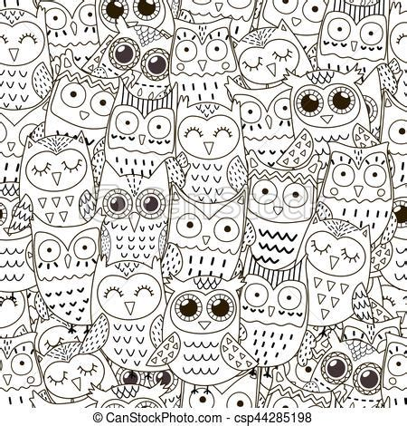 doodle owls seamless pattern black  white cute owls