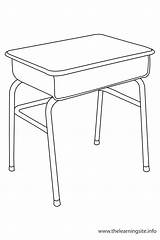 Desk Coloring Outline Classroom Clipart Object Objects Pages Flashcard Flashcards Chair sketch template
