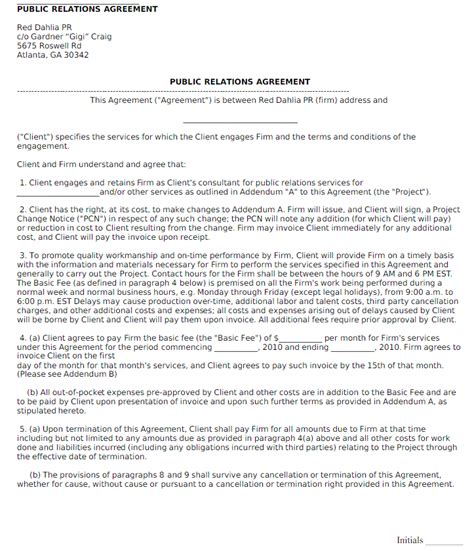 freelance public relations contract template