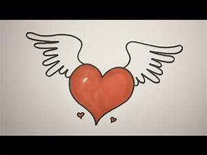How To Draw A Heart With Wings Step By Step EASY - YouTube