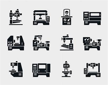 Machine Vector Tool Icons Industrial Factory Illustration