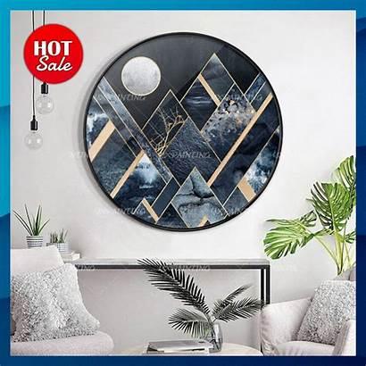 Canvas Painting Geometric Acrylic Moon Ready