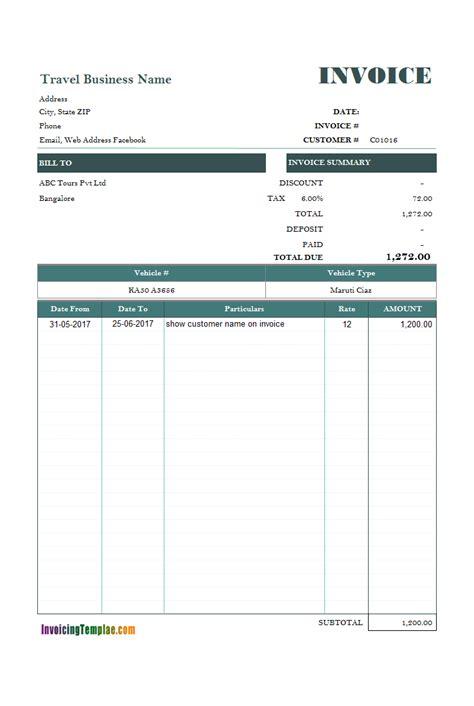 car rental invoice sample