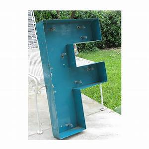 Very large vintage channel letter quotfquot metal sign marquee for Large channel letters