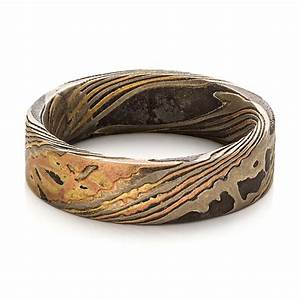 custom men39s mokume wedding band 100583 With unique mens wedding ring
