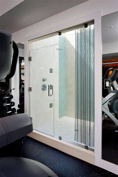 laurel woods gym shower modern home gym boston