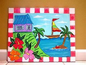 Tropical Beach ocean sea painting kids wall art canvas nur