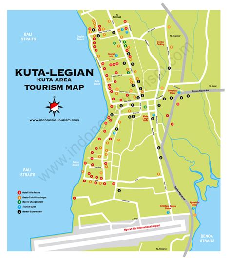 kuta map   bali area information