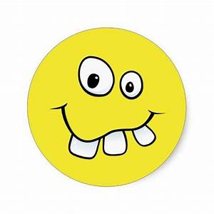 Funny goofy smiley face with big teeth, yellow round ...
