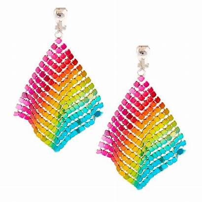 Earrings Clip Rainbow Chain Mesh Claire Claires