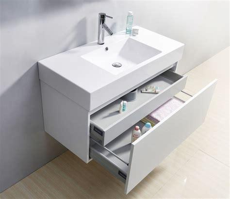 glossy white modern floating single sink bathroom