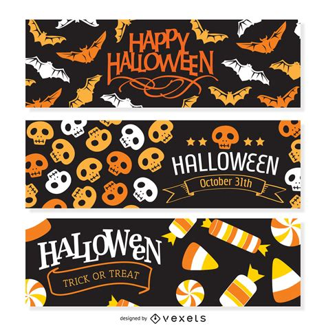 Ready in ai, svg, eps or psd. 2 Halloween party banner - Vector download