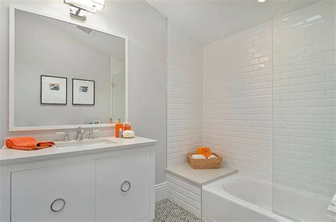 beveled subway tile shower contemporary bathroom