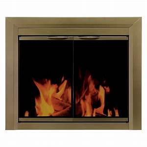 Pleasant, Hearth, Cahill, Cabinet, Fireplace, Screen, And, Smoked, Glass, Doors