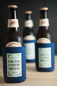 Personalized beer koozie wedding favors weddings ideas for Beer koozie wedding favors