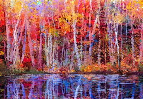 oil painting landscape colorful autumn trees stock