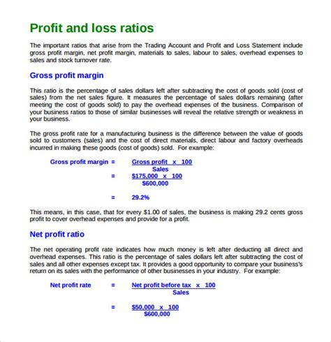 sample profit  loss templates  google docs