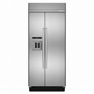 Shop kitchenaid 208 cu ft counter depth built in side by for Kitchenaid counter depth refrigerator side by side