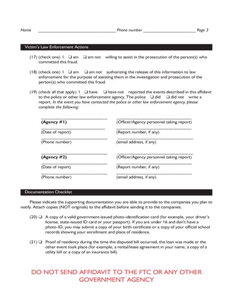 affidavit of identity theft form identity theft affidavit form texas free download