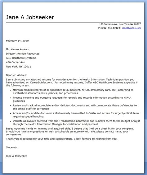 cover letter health information technician resume downloads