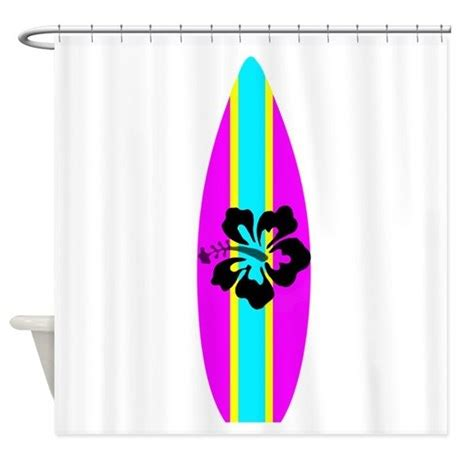 shower curtain pink hibiscus surfboard shower curtain by Surfboard