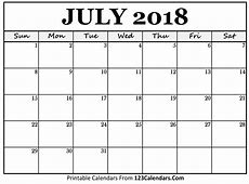 Printable July 2018 Calendar Templates 123CalendarsCom
