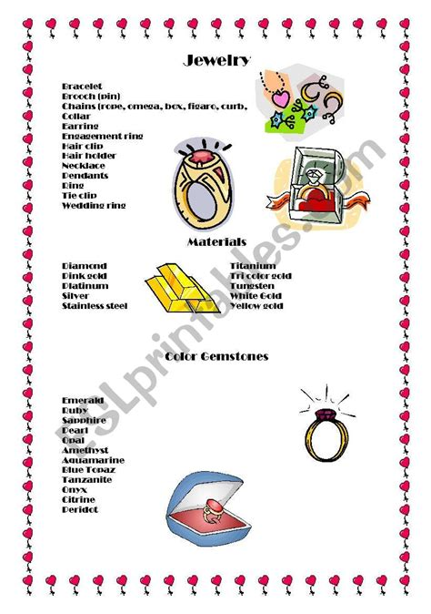 english worksheets jewelry
