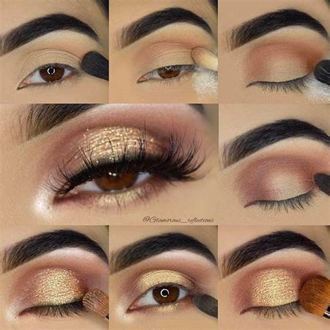 gold glitter eye makeup tutorial  brown eyes makeup