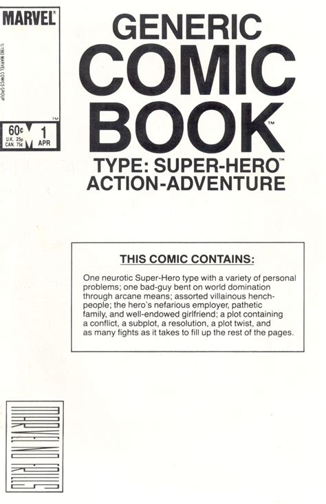 comic book cover template marvel comics of the 1980s 1984 the generic comic book
