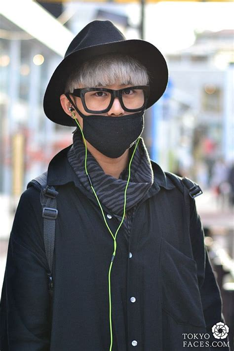 tokyo street fashion white hair fedora hat green