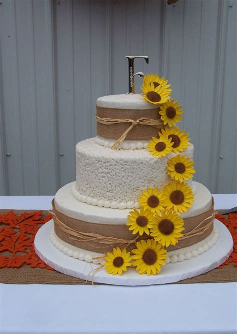 Rustic Sunflowers Wedding Cake Wedding Cakes By Sherry